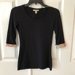 Burberry top with 3/4 sleeves